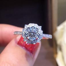 Sterling, crystal ring, engagementweddingring, sterling silver