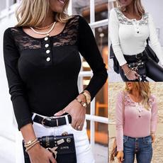 Fashion, Stitching, Lace, solidcolortop
