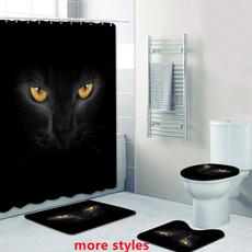 halloweenblackcatface, Home Decor, Waterproof, showercurtainset
