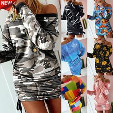 Mini, Bodycon Dresses, Cotton, Winter
