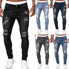 men jeans, Slim Fit, pencil, rippedjean
