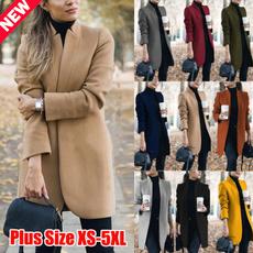 Stand Collar, woolen coat, Plus Size, Winter