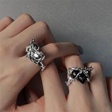 Sterling, ringsformen, Goth, crystal ring