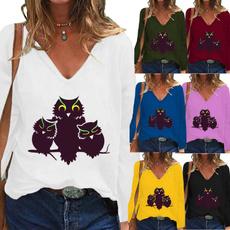 Deep V-Neck, Fashion, Graphic T-Shirt, Women Blouse