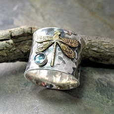 Sterling, dragon fly, aquamarinering, sterling silver