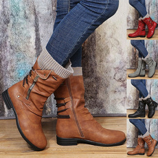 ankle boots, Plus Size, Leather Boots, Winter