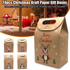 Box, decoration, kraft, Christmas