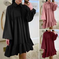 Plus Size, pleated dress, lanternsleevedres, long dress