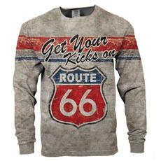 route66, Fashion, Necks, roundnecklongsleevetshirt