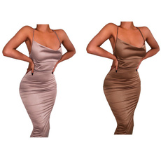 sleevelessbacklessdres, sexyclubclothe, Lace, brown