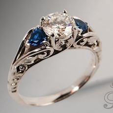 Antique, Sterling, DIAMOND, heartdiamondring