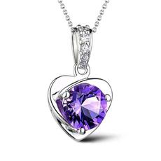 Sterling, Love, Jewelry, amethystpendant