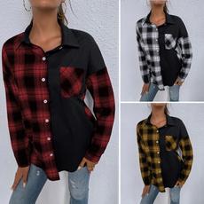 plaid shirt, blouseshirt, Plus Size, autumnblouse