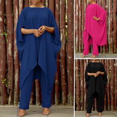 trousers, loosesuit, Women Blouse, Bat