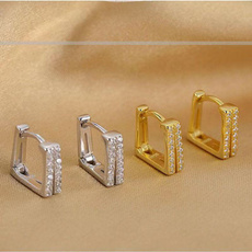 Sterling, for, Earing, Crystal