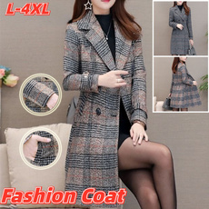 woolen coat, plaidcoat, Fashion, Winter