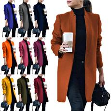 Stand Collar, woolen, Plus Size, Winter