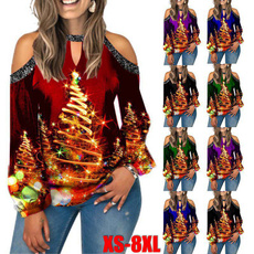 Plus Size, off the shoulder top, christmasblouse, Long Sleeve