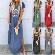 Summer, Shorts, Print Dresses, Necks