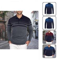 Turn-down Collar, Fashion, Polo Shirts, Elastic