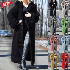 Plus Size, Coats & Outerwear, sweater coat, Long Sleeve