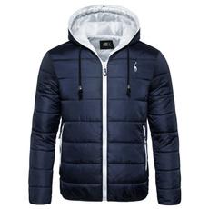 hoodedcoatmenswarmwinterjacket, Winter, wintersolidcolordowncottonjacket, Waterproof