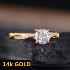 DIAMOND, Infinity, gold, rhinestonering