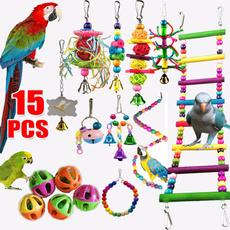 parakeetstandingtoy, birdhangingnest, Toy, cockatielschewing
