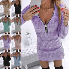 Skirts, zippersweater, Plus Size, longsleeveddresse
