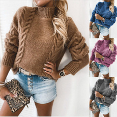 Plus Size, Winter, solidcolorsweater, Trend