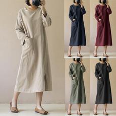 Cotton, Shift Dress, solidcolordre, long dress