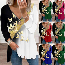 butterfly, Deep V-Neck, Plus size top, tunic top