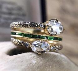 DIAMOND, wedding ring, 925 silver rings, gold