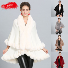 womensponcho, shawlcloak, fur, Winter