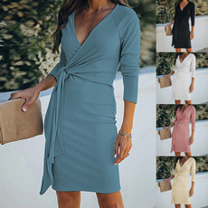 Plus Size, solidcolordre, short dress, Sleeve