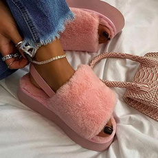 wedge, fluffy, Slippers, Women's Fashion