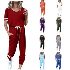 Two-Piece Suits, Ladies Fashion, looseshortsleeve, short sleeves