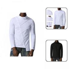 Fashion, asymmetricalhemtop, Sleeve, solidcolortop