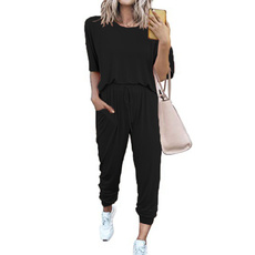 Two-Piece Suits, Ladies Fashion, Spring, looseshortsleeve