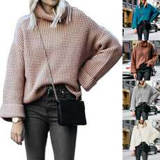knitwear, Plus Size, Sleeve, solidcolorsweater