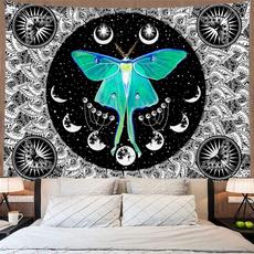blackandwhitetapestry, mandalatapestry, tapestryhippie, moth