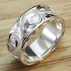 Flowers, carvingring, 925 silver rings, Silver Ring