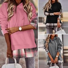 women pullover, autumnwinter, plaid, hooded
